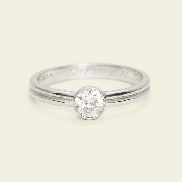 1940s Grooved Platinum .38ct Diamond Solitaire