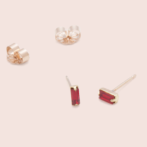 Red Baguette Studs