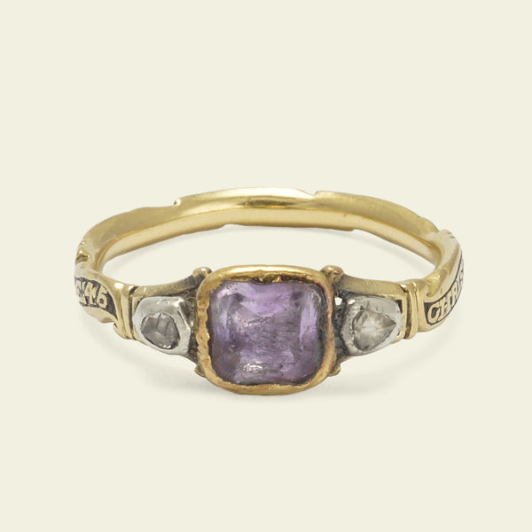 Georgian Rococo Amethyst and Diamond Mourning Ring
