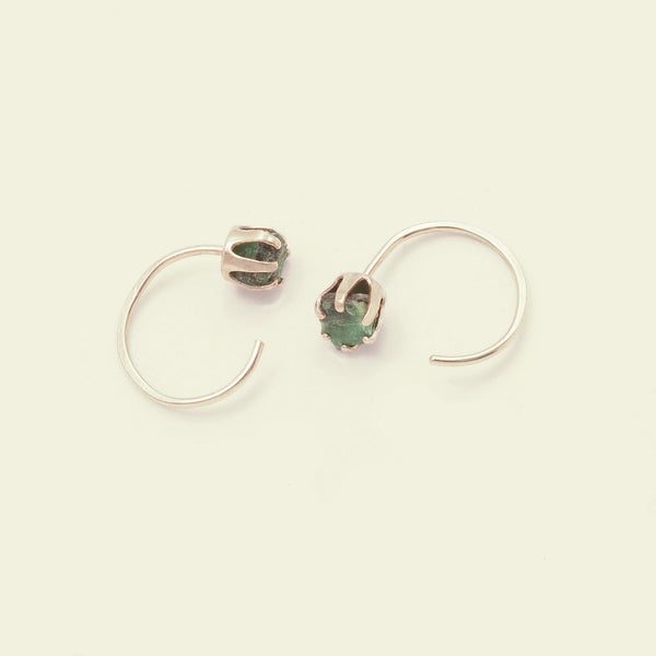 Rough Gem Half-hoops (Emerald 14k)