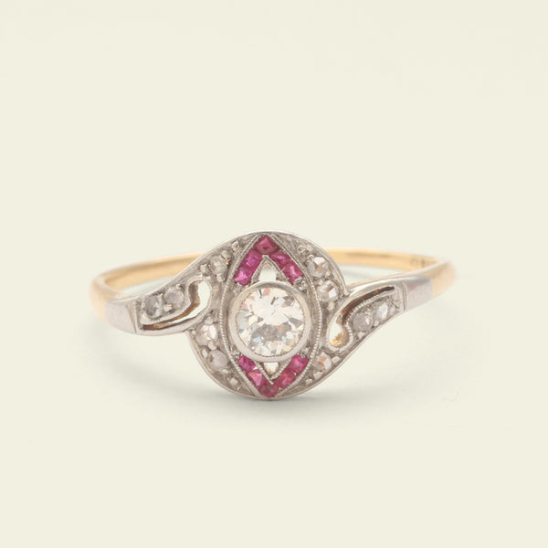 Art Deco Diamond Crossover Ring with Ruby Accents