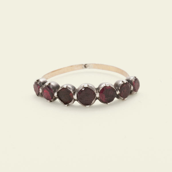 Georgian Garnet Half Hoop Ring