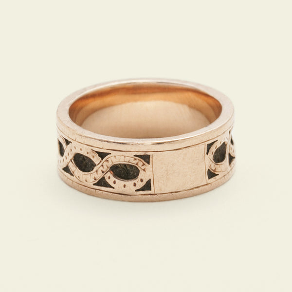 Victorian Rose Gold Band with Channel Set Hair