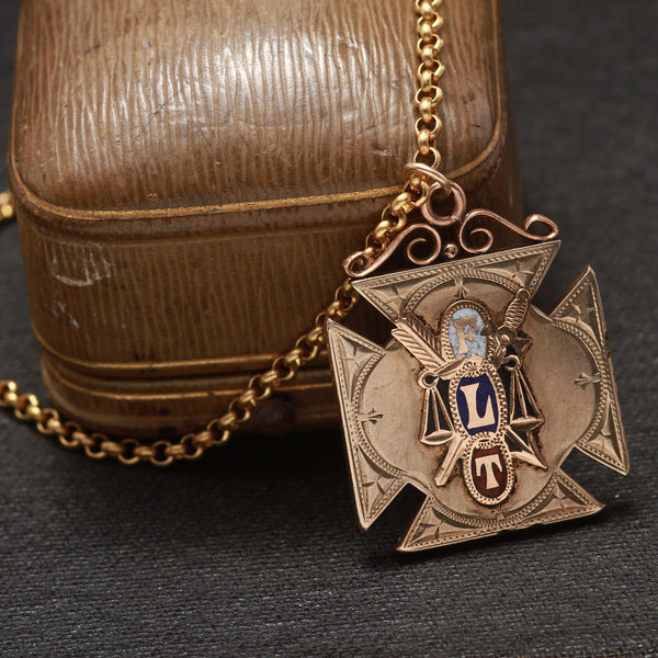 Oddfellows FLT Cross Pendant Necklace