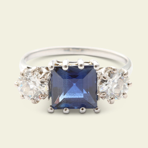 Platinum 3.21ct Sapphire and 1.02ctw Old European Cut Diamond Trilogy Ring