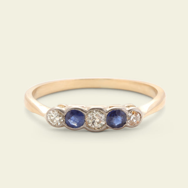 Edwardian Diamond and Sapphire 5 Stone Ring