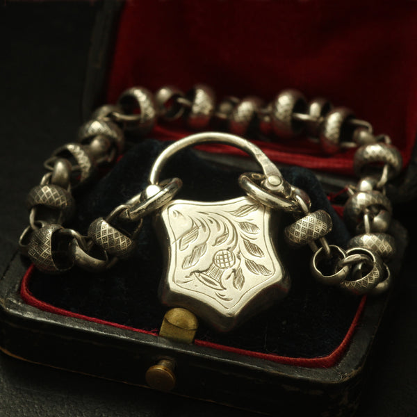 Victorian Coin Silver Chain Bracelet with Scottish Thistle Padlock