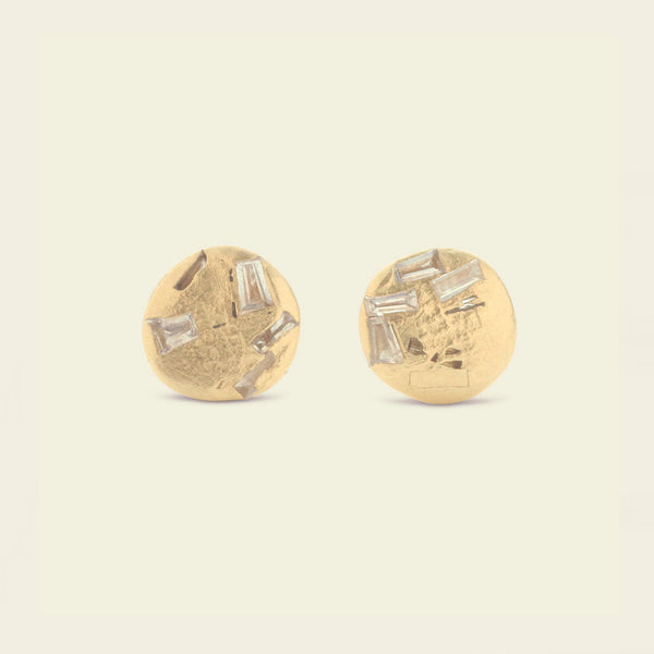 Buried Baguette Disc Studs