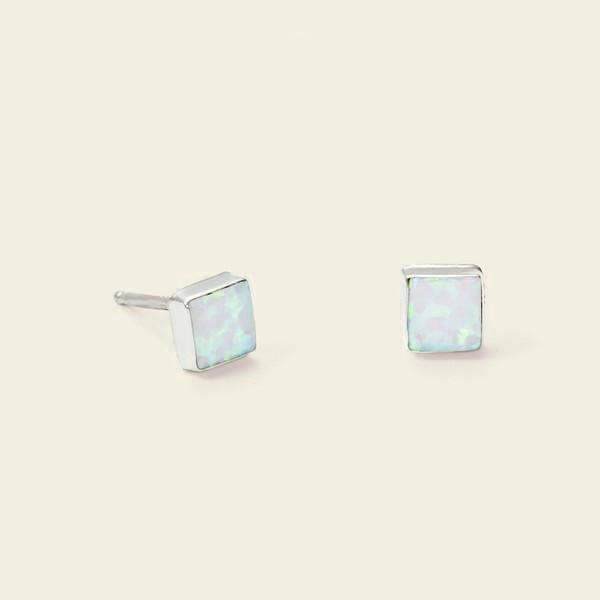 Equilateral Opal Earrings (white)