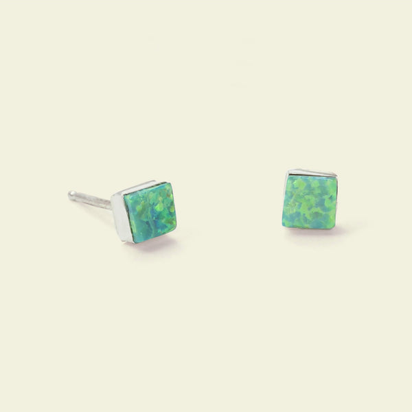 Equilateral Opal Earrings (green)