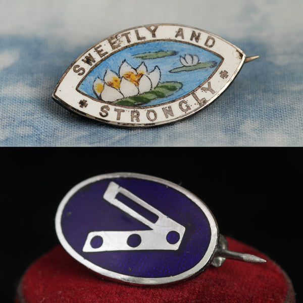 "Vintage ""Sweetly and Strongly"" and ""V for Victory"" Pins"