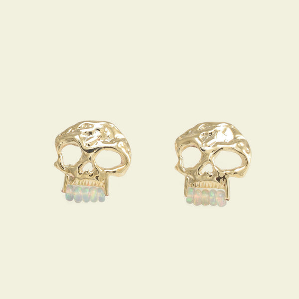 Skull Earrings with Opal Teeth