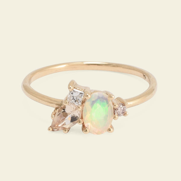 Opal and Morganite Cluster Ring