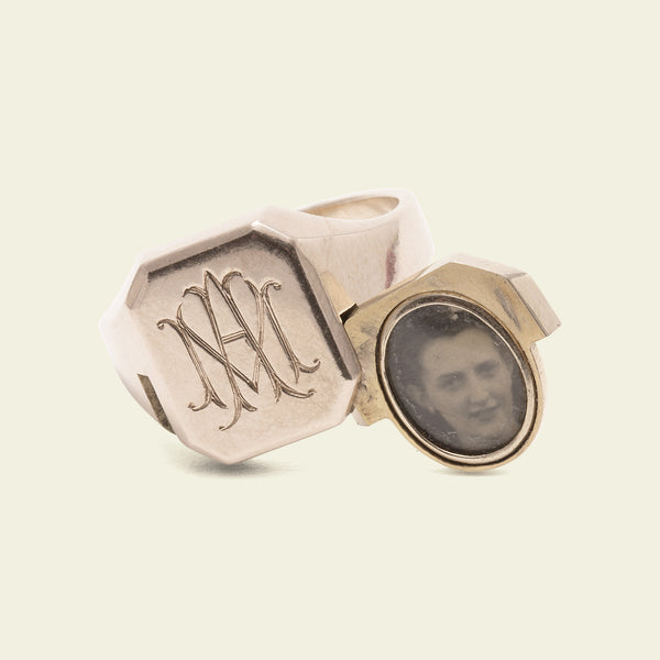 "Vintage English ""MA"" Signet Ring with Hidden Photo Locket"