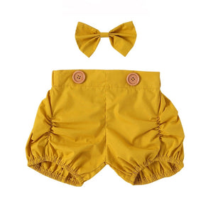 Shorts + Bow Set - Mustard