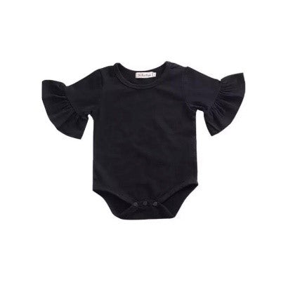 Flutter Sleeve Romper - Black - little-love-bug-clothing