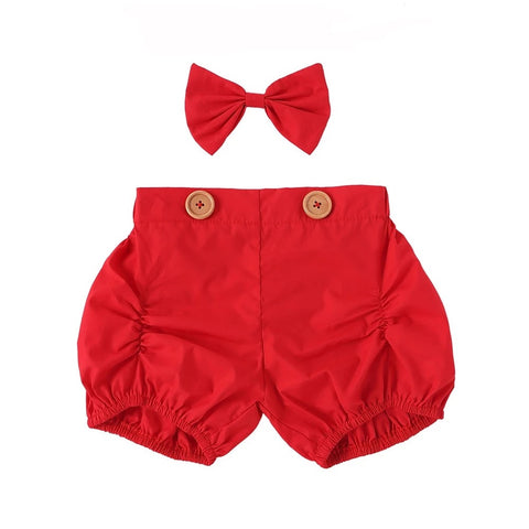 Shorts + Bow Set - Red