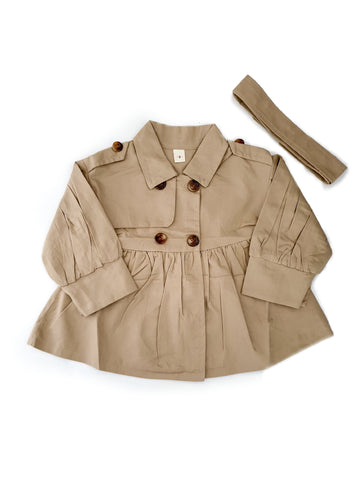 Ruffle Trench Coat - Beige - little-love-bug-clothing