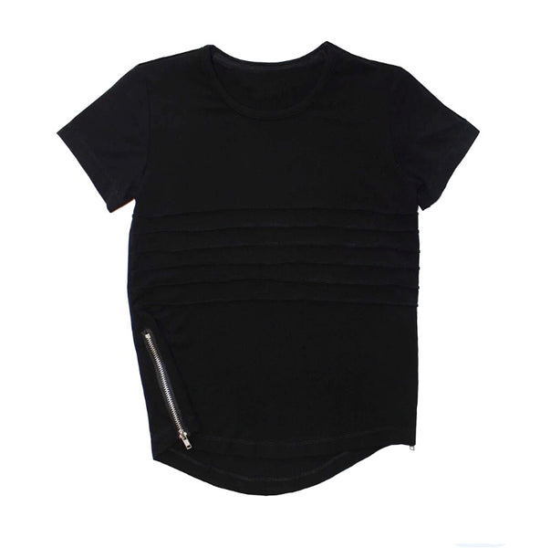 Side Zip Tee - Black