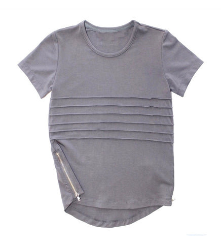 Side Zip Tee - Light Grey