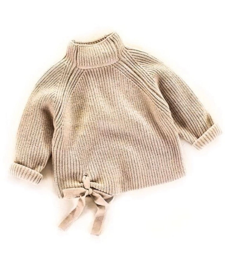 Knitted Turtleneck Bow Jumper - Beige - little-love-bug-clothing