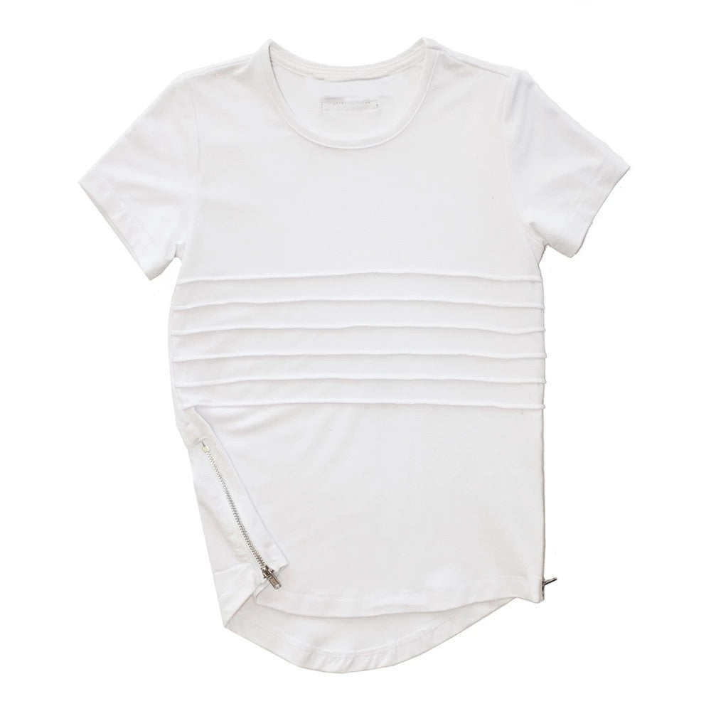 Side Zip Tee - White