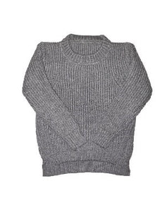 Ribbed Crew Knit Jumper - Grey - little-love-bug-clothing