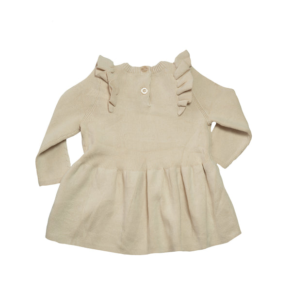Frilled Knitted Dress - Cream