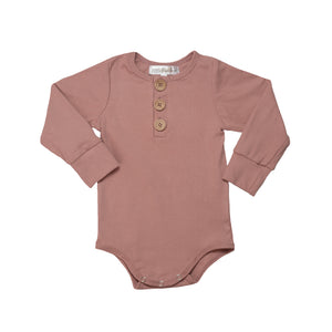 Ribbed Essential Romper - Dusty Pink
