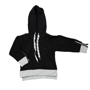 Zipped Hooded Jumper - Black