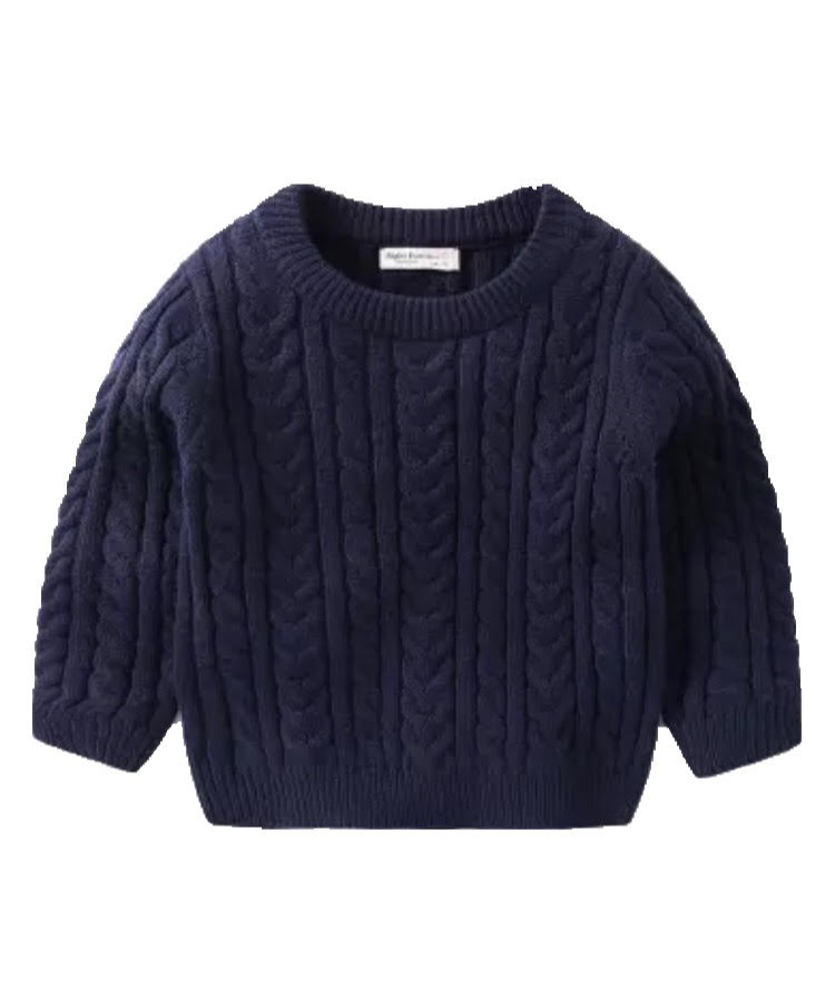 Patterned Knitted Jumper – Navy - little-love-bug-clothing