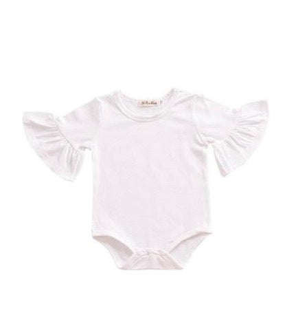 Flutter Sleeve Romper - White - little-love-bug-clothing