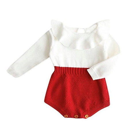 Frilled Knitted Romper - Red - little-love-bug-clothing