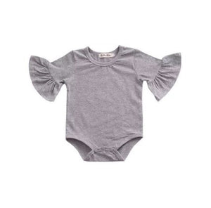 Flutter Sleeve Romper - Grey - little-love-bug-clothing