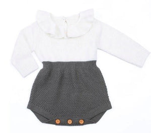 Frilled Knitted Romper - Grey - little-love-bug-clothing
