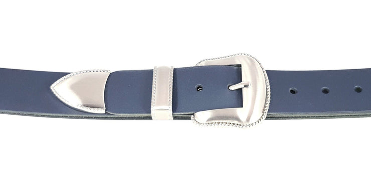38mm - 3 Piece Buckle - Matt Nickel with rope outline detail - 3901