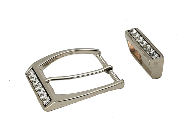 Square Buckle Crystals - Nickel - 2368 MAC2368 - the beltshed.com.au
