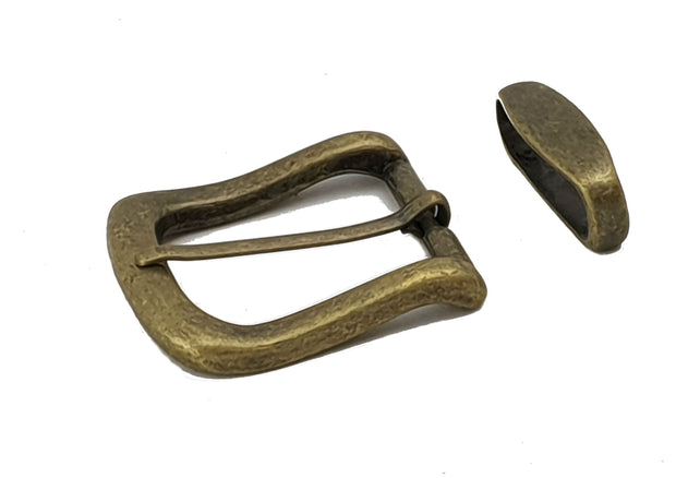 Square buckle with keeper - 32 mm - Antique Brass - 2500 - MAC2500 - thebeltshed.com.au