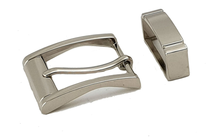 Square buckle with keeper - 32 mm - Nickel - 3897 - MAC3897 - thebeltshed.com.au