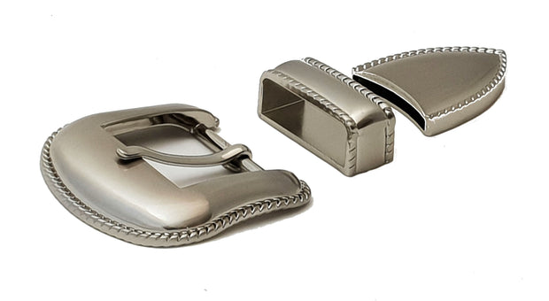 3 Piece Buckle - 38 mm - Decorative Red and Nickel - 3901 - MAC3901 - thebeltshed.com.au