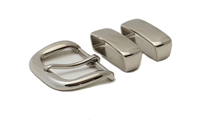 D buckle with two keepers- 38mm - Nickel - 4041 - MAC4041 - thebeltshed.com.au