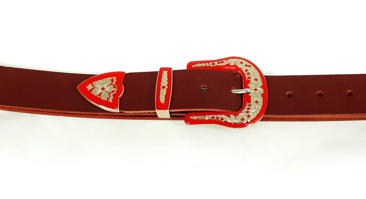 38mm - 3 Piece Buckle - Red and Nickel - 2323
