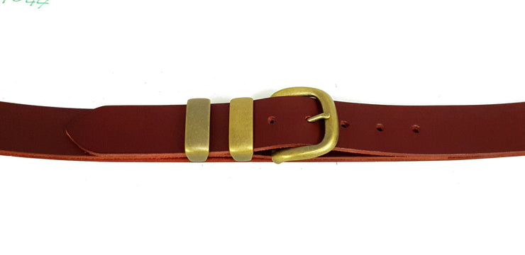 38mm - 'D' Buckle and Two Keepers - Antique Brass - 4044