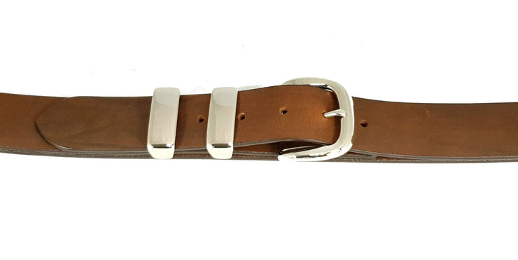 38mm - 'D' Buckle and Two Keepers - Nickel - 4041
