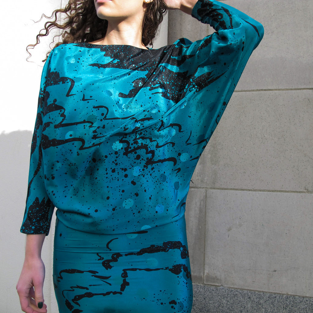 Vintage 80s Batwing Painted Dress