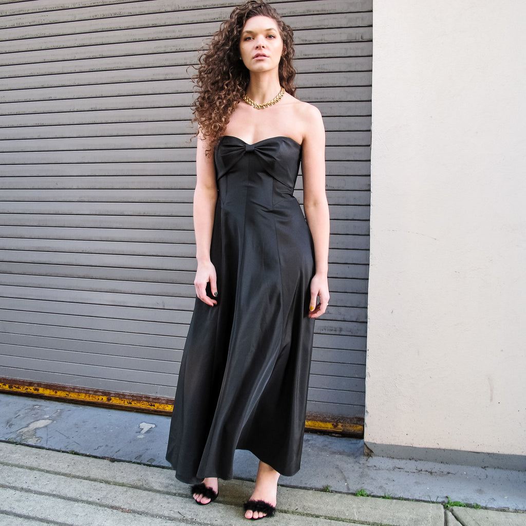 Vintage 90s Strapless Bow Evening Dress