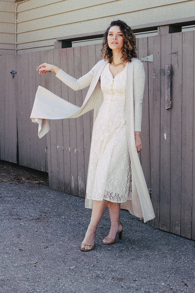 Vintage 90s Cream Lace Dress