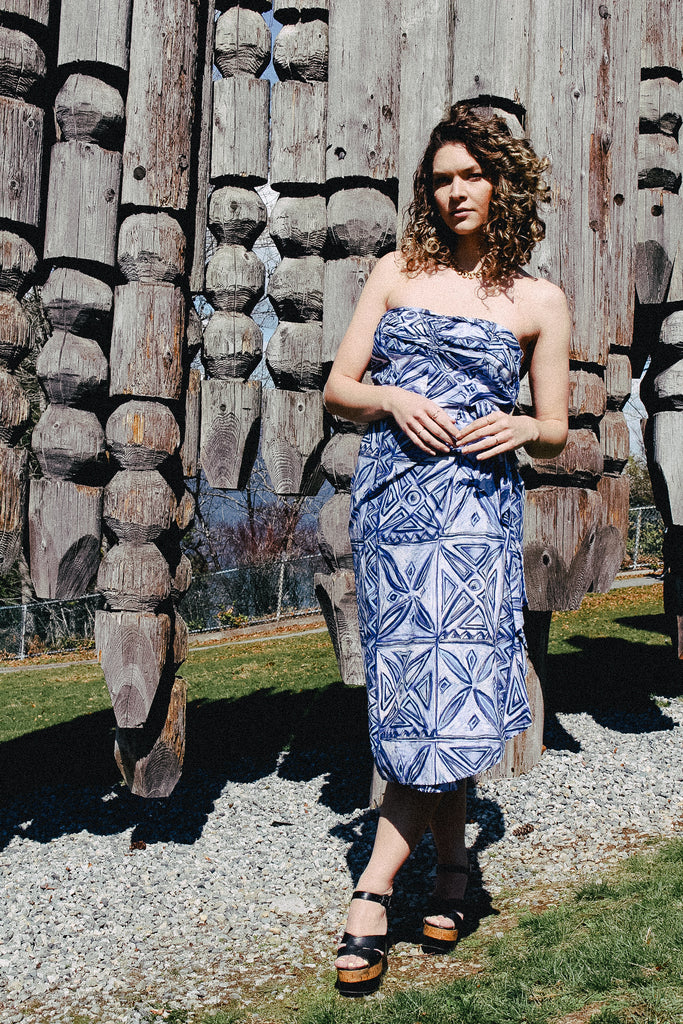 Vintage 1950s Tiki Sarong Dress