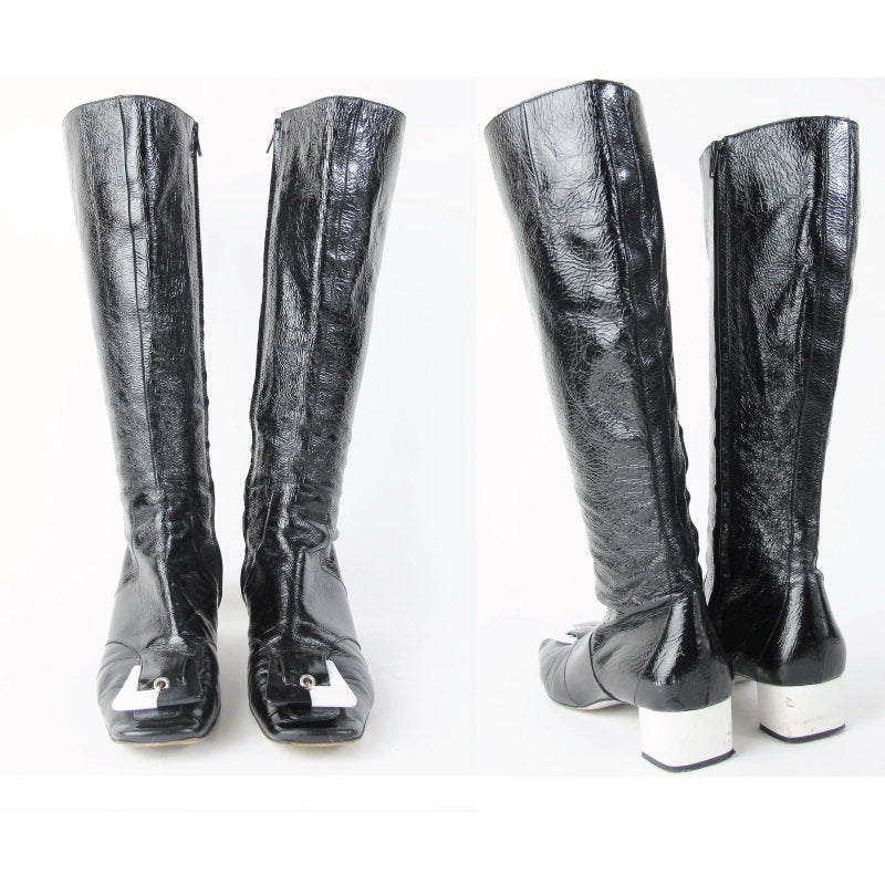 1990s Vintage EMILIO PUCCI Boots Mod Go Go Boots 60's Style Black and White Two Tone Buckle Knee High Patent Leather Boots Size 8.5