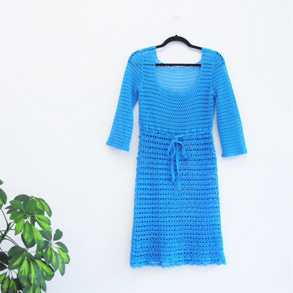 Vintage 1960s Blue Knitted Dress Baby Blue Dress Crochet Knit Drawstring Waist See Through Swim Cover Up Knee Length Hand Knitted Dress M